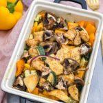 Leckeres und schnelles Ofengemüse mit Hähnchenfleisch
